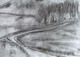 Towards Postbridge by judith cockram, Drawing, Charcoal on Paper